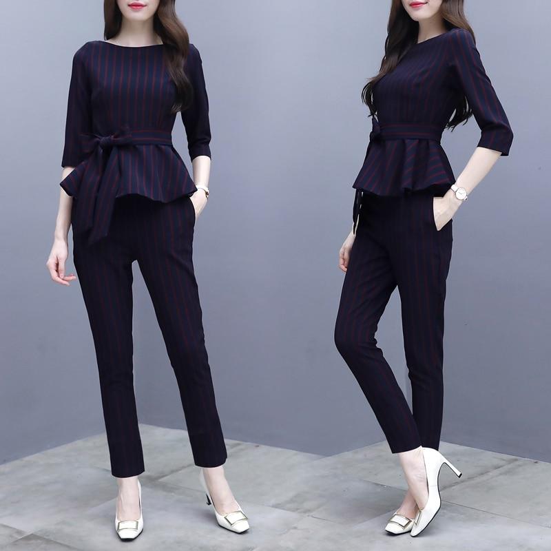 Rayé Automne 2018 Pièces Femmes Élégant Bureau Vêtements Ensemble Co Et Pantalon Outfit Hiver Noir Top Yiciya Moulante Black Slim 2 ord w0Tawp