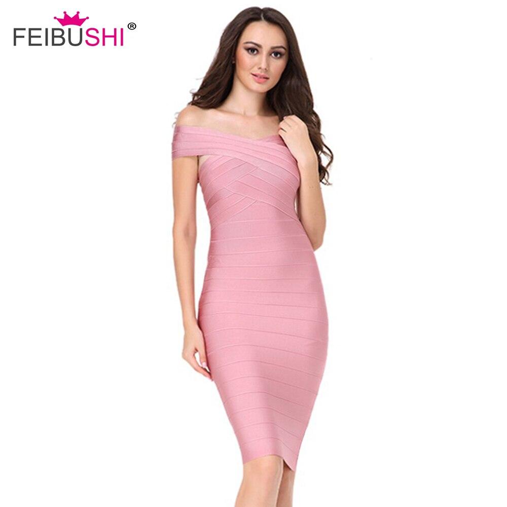 FEIBUSHI 2018 été femmes Bandage robe rose Slash cou genou longueur célébrité luxe piste robe soirée robe de soirée robe