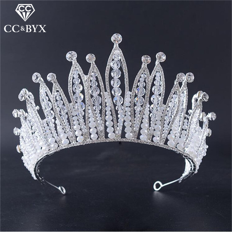 CC crowns tiaras hair ornaments big queen crown luxury crystal wedding hair accessories for women bride engagement jewelry HG794