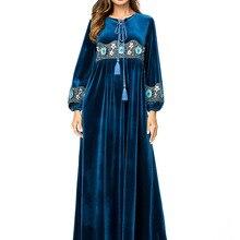Мусульманские женщины с длинными рукавами бархатные вышивка Дубай платье макси Абая jalabiya Исламская одежда для женщин одеяние кафтан Марокканская 7300