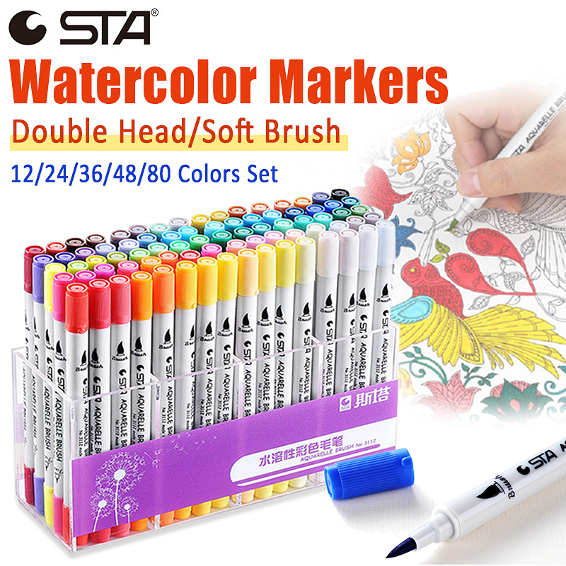 STA Art Markers Watercolor Brush Pen Double Head Manga Sketch Marker Pens  For Drawing Art Supplies Stationery Paint Dual Tip Pen
