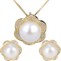 Femmes élégantes 925 en argent sterling pendentif collier boucles d'oreilles bijoux de mariée