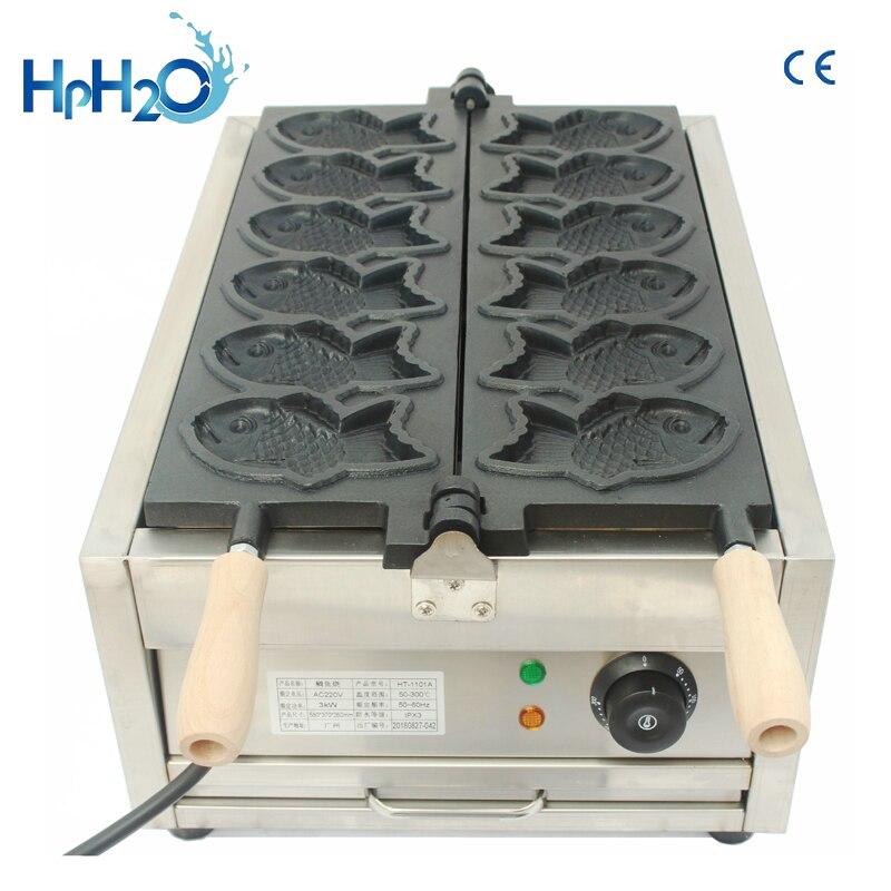 Máquina comercial de 6 piezas en forma de pez Taiyaki/máquina de fabricación comercial de mini taiyaki/máquina de fabricación de waffles taiyaki coreana