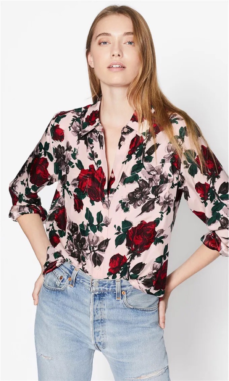 Vintage Rose Silk Shirt Glossy Silk Shirt women blouses womens tops and blouses women shirt