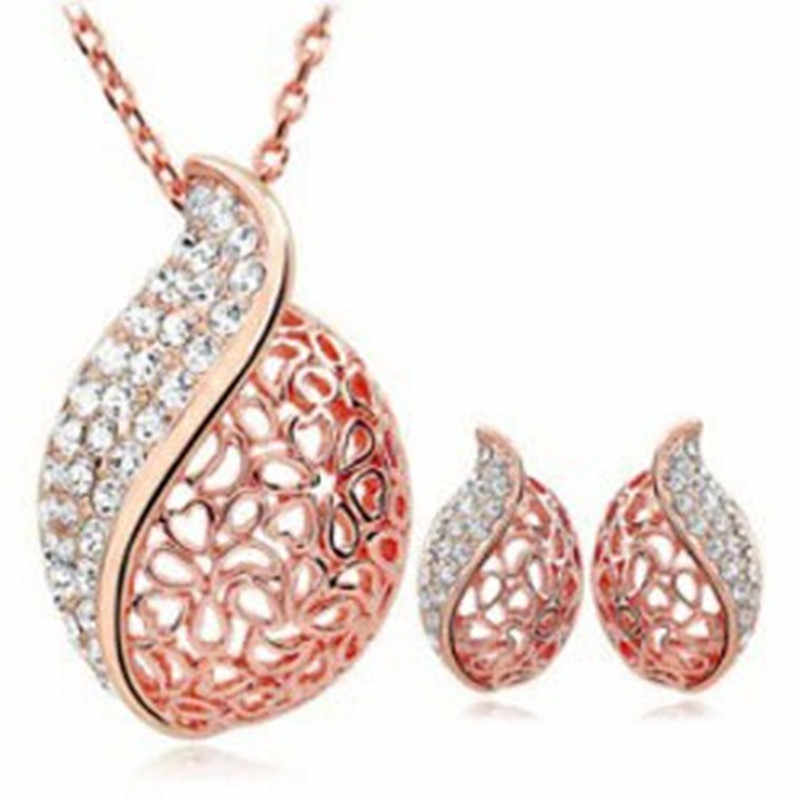 Holiday Wholesale Gold hollow leaf pendant rhinestone Crystal  Sets necklace earrings Jewelry for women