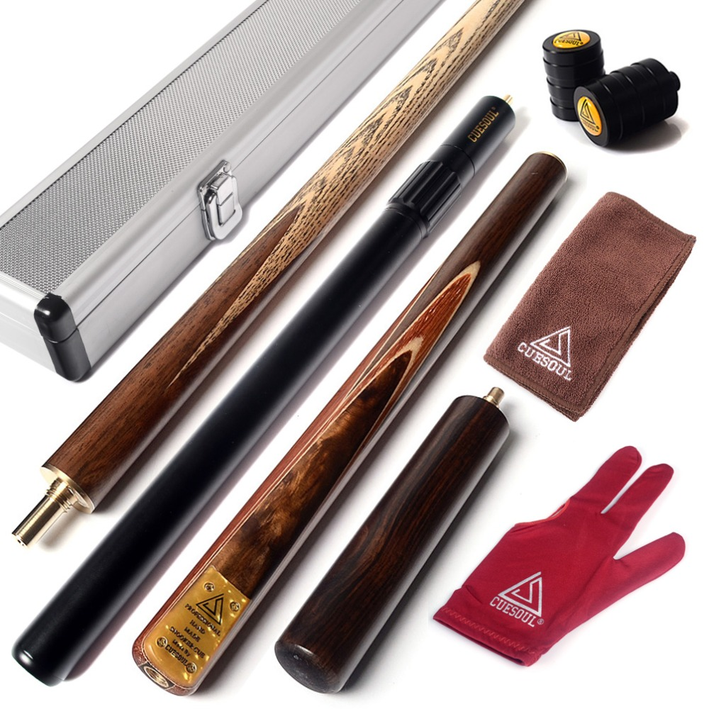 CUESOUL 57 Snooker Cue Handcraft 3/4 Jointed with Mini Butt End Extension Packed in Aluminium Cue Case cuesoul classic handmade 57 inch rosewood 3 4 piece snooker cue black cue case and cue extension
