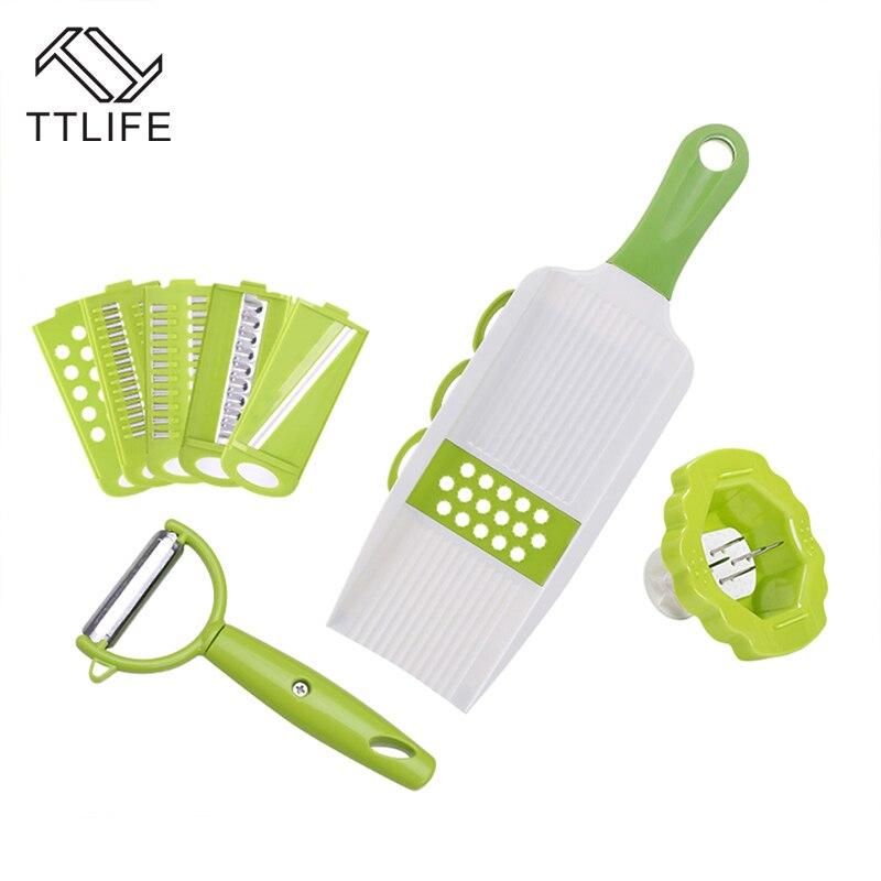 TTLIFE Küche tragbare Mandoline Slicer Gemüseschneider mit 5 - Küche, Essen und Bar - Foto 5