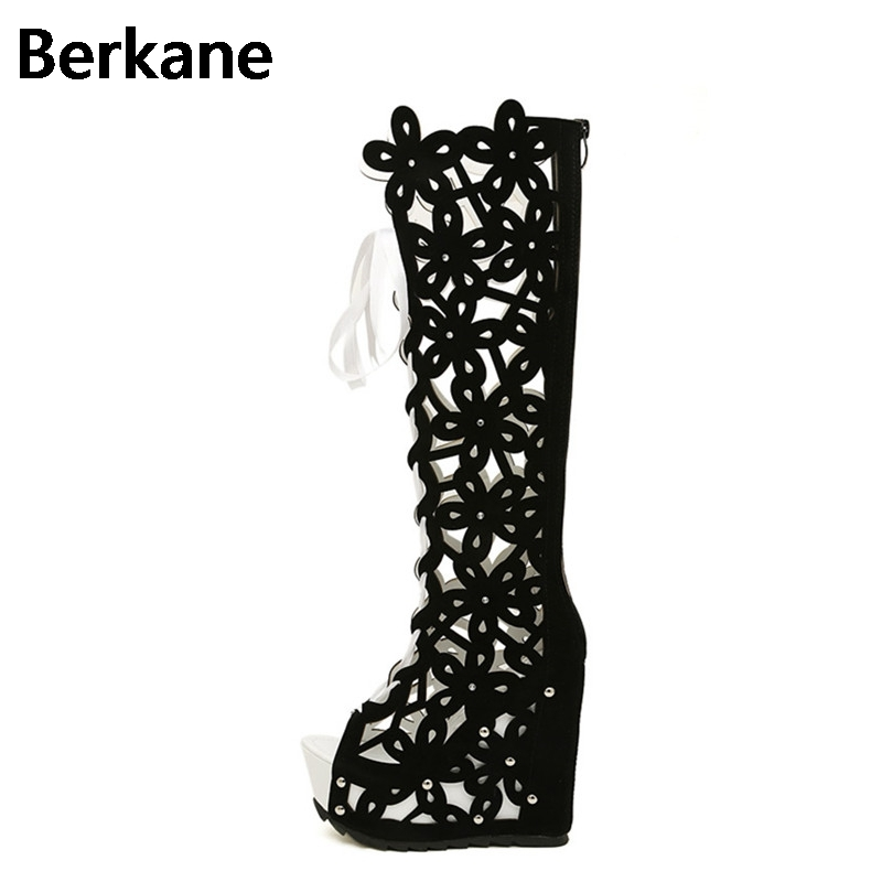 bfff7eb88209 Open Toe Boots Gladiator Sandals Women Summer Knee High Heels Roman Hollow Booties  Female Sexy Wedges