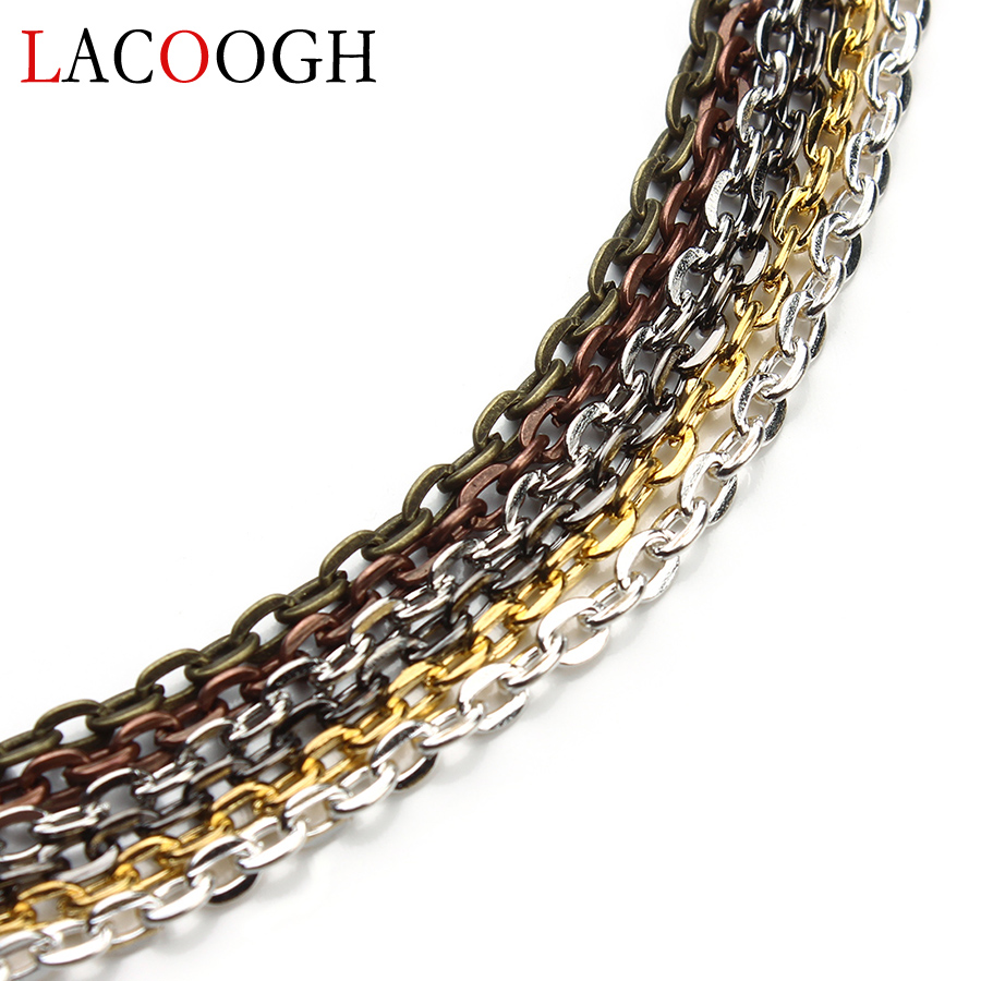 Fashion <font><b>10</b></font> meters Gold Silver Color Flat Link-opened Bulk Jewelry Chains 2x3/3x4/3.5x4.5/4x5.5mm Pick Size Brass Necklace Chains image
