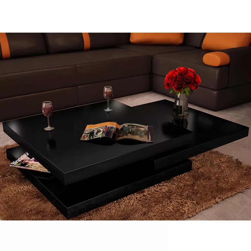 VidaXL Modern Wooden Coffee Table 3 Shelves Shiny Fashion Wood Grain Stretchable Living Room Home Furniture