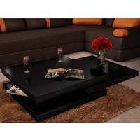 VidaXL Modern Wooden Coffee Table 3 Shelves Shiny Fashion Wood Grain Stretchable Living Room Home Furniture