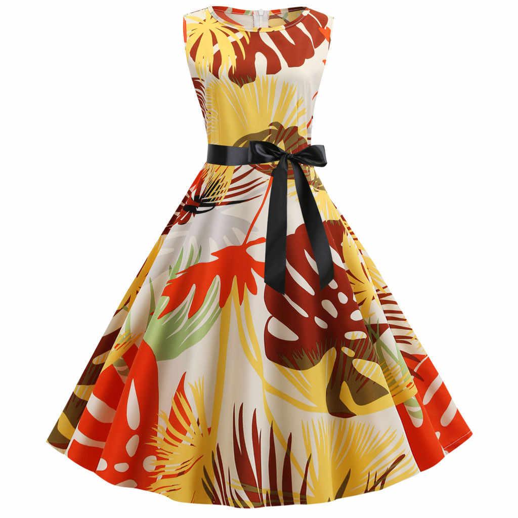 2019 летние платья женские винтажные Качели 50 s домохозяйка Повседневная Вечеринка для выпускного вечера, в стиле рокабилли платье Плюс Размер летнее платье Сарафан