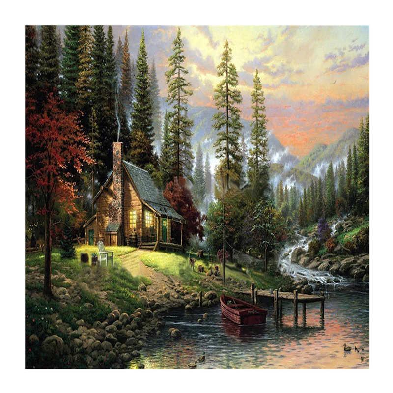 Mur paysage peinture à l'huile par numéros peintures à l'huile décoration de la maison photos toile peinture à l'huile coloriage par numéro