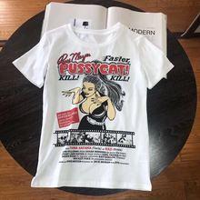女性の白 tシャツ漫画のキャラクターを印刷カジュアル綿半袖