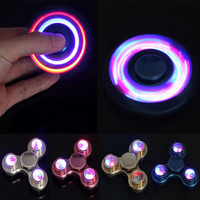LED Light Fidget Spinner Finger Metal EDC Hand Spinner Tri For Kids Autism ADHD 5 Styles