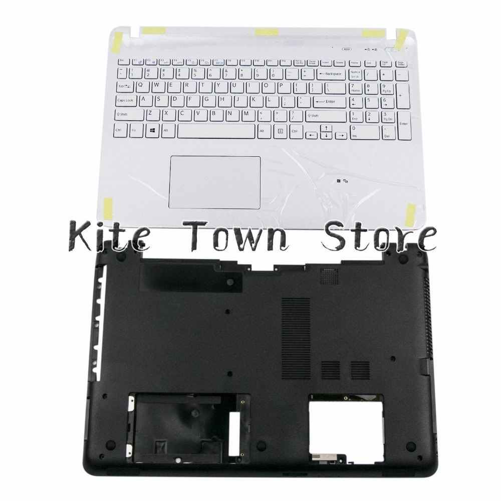 New Uppoer Palmrest & Bottom Case Cover For Sony Vaio SVF152 SVF153 US Keyboard White W Touchpad 3PHK9PHN040 4VHKDBHN000 us laptop keyboard for sony svf15 fit15 svf151 svf152 svf153 svf1541 svf15e white keyboard with frame palmrest touchpad cover