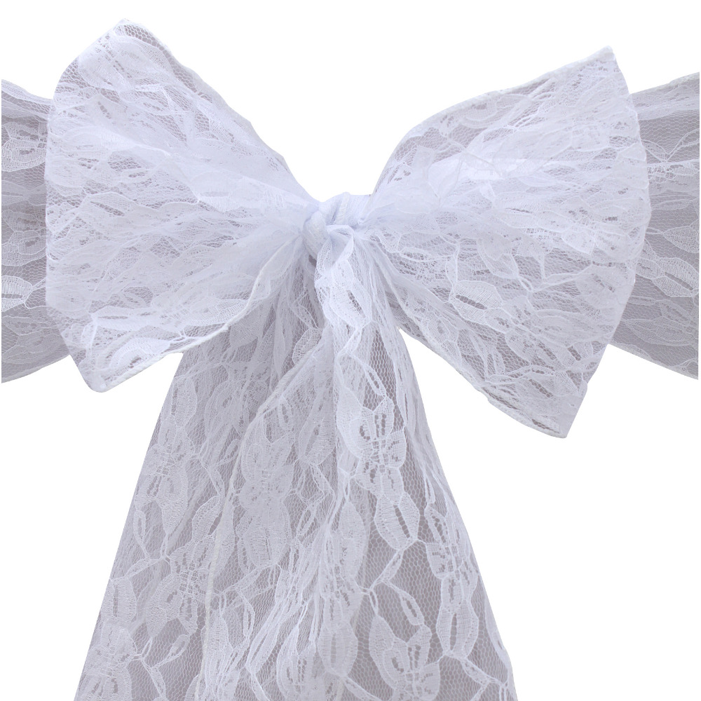 50pcs New Design Fashion White Free Shipping Lace Chair Sash/chair Sash/chair Sash Bow ,Wedding Christmas Party Decoration,HQ