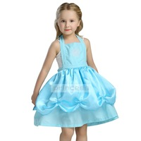 Toddler Girls Summer Belle Dresses Princess Costume Party Clothing Beauty and the Beast Blue Dress Sleeveless Clothes