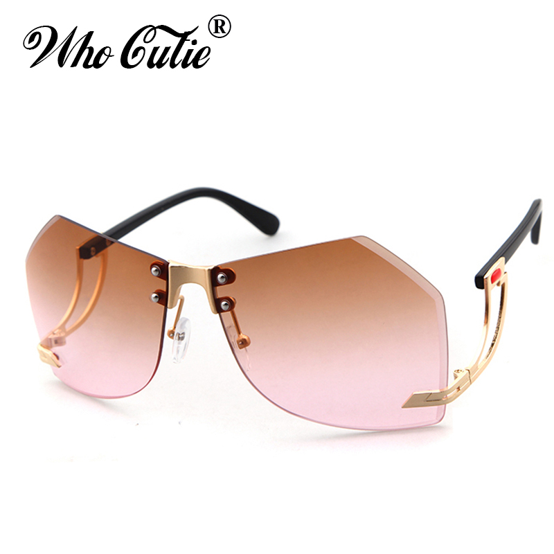 80b26829950d2a QUI CUTIE 2018 Sans Monture Jaune Teinte Objectif Clair pilote lunettes de Soleil  Femmes Sans Cadre Transparent Lunettes de Soleil Ray Nuances OM375 dans ...