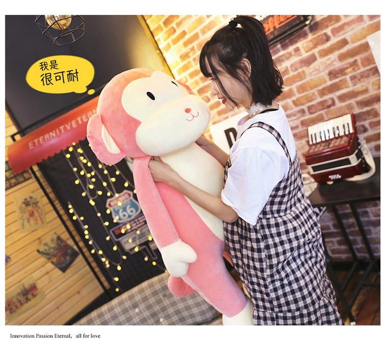 Nouveau peluche singe jouet doux rose singe oreiller poupée cadeau environ 80 cm