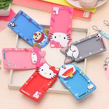 Silicone Card Case Holder Bank Credit Card Holders Card Bus ID Holders Identity Badge with Cartoon Retractable Reel PC0009