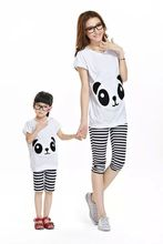 2016 Matching Mother Daughter Clothes Family Look Girl and Mother Mommy and Me clothes Parent-child Outfit Ma e Filha Set  panda