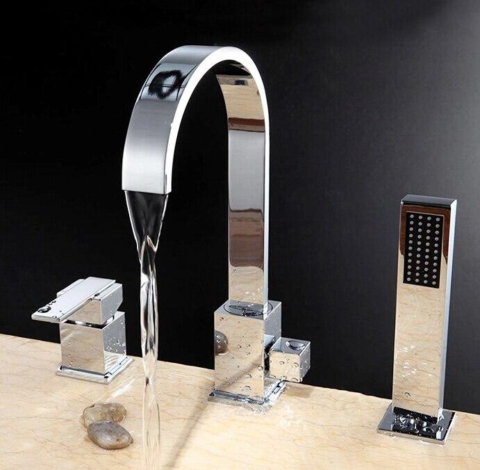 Смеситель для ванной роскошный комплект из 3 предметов, кран для ванной комнаты, смеситель для ванной комнаты, кран на бортике из латуни, сме
