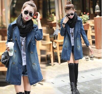 7f83ea5b3c28 Autumn and winter korean loose casual women cowboy coat all-match long  denim jacket women jeans clothes free shipping wholesale