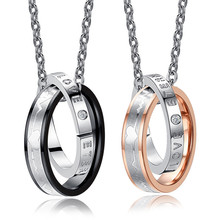 Wedding Anniversary Valentine's Present Couple Necklace His & Hers Matching Titanium Stainless Steel lover Pendant Necklace s цена и фото