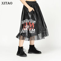 [XITAO] 2018 Autumn Korea Fashion New Arrival Women A line Skirt Female Hollow Our Print Letter Casulal Above Knee Skirt ZLL2394