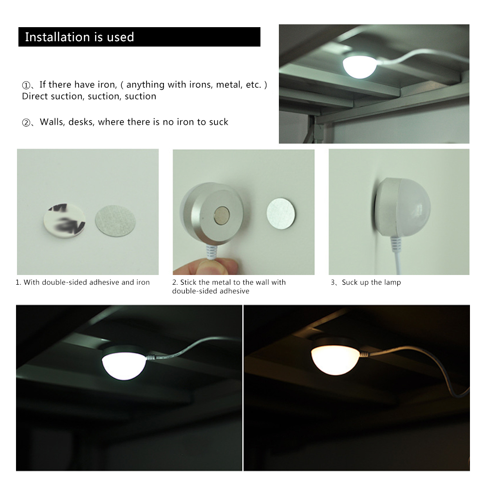 OFF USB Powered LED Night light Desk Book Reading Ceiling lamp With Switch ON