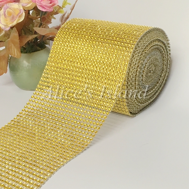 1 Roll 45x10yards24rows 30ft Gold Color Diamond Rhinestone Mesh Bling