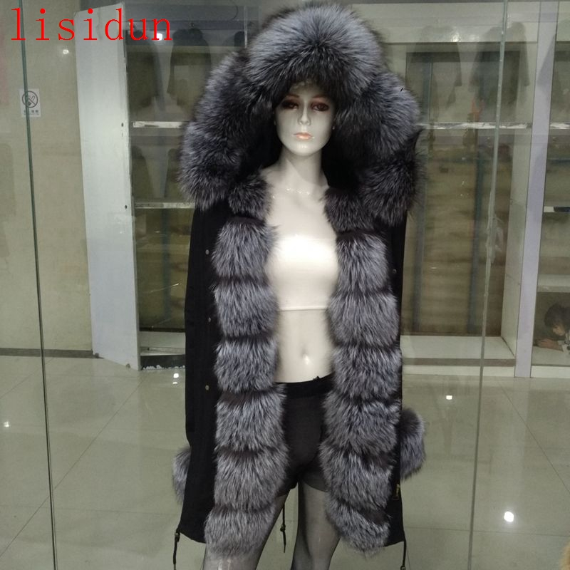 2018 Natural Fox Fur Coat Silver Fox Collar Plus Size Long Winter Jacket Rex Rabbit Liner Red Fox Hooded Thick Warm Parks Disass