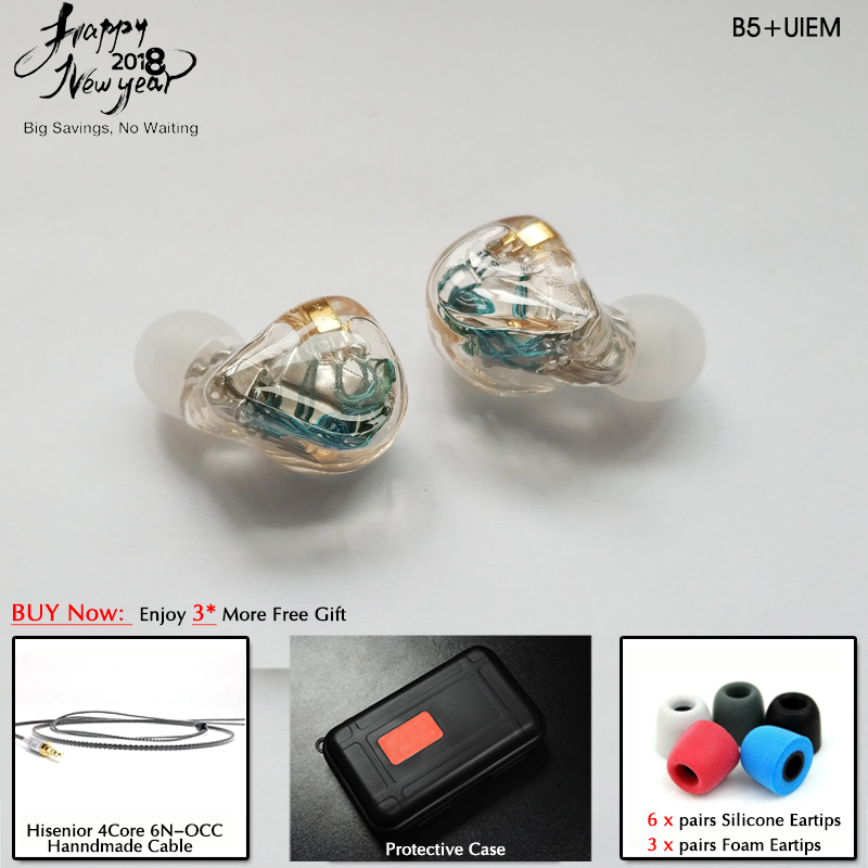Hisenior B5 5 10BAs Universal Fit Balanced Armature In Ear Monitor IEM Noise Cancelling Custom Earphone