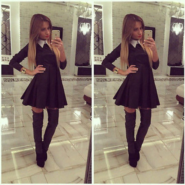 2016 Women Casual Long Sleeve Bodycon Party Mini Dress Black Peter