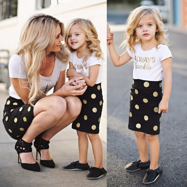 62ae38ad4eba Mom and Baby Clothing Sets Mother Daughter Dresses Family Matching Clothes  Baby Girls and Mommy Short Sleeve Clothes Dot Skirts