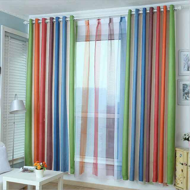 European Style Color Blackout Bars Jacquard Curtains For Bedroom Stripe Sets In The Nursery Drapery