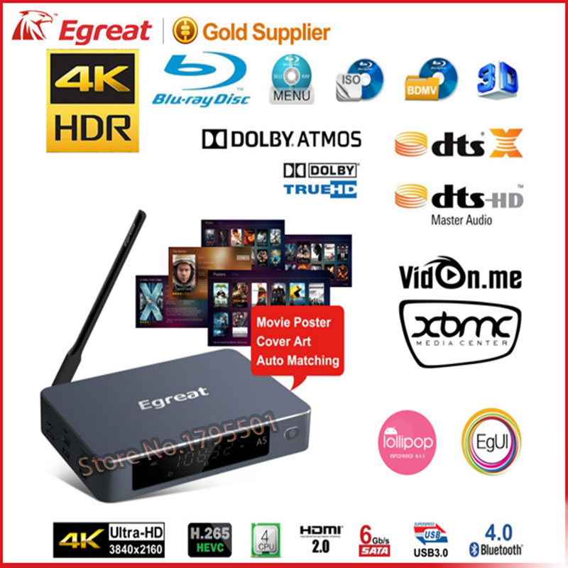 2017 SKF Egreat A5 Smart Android TV Box 3D 4K UHD Media Player with HDR USB3