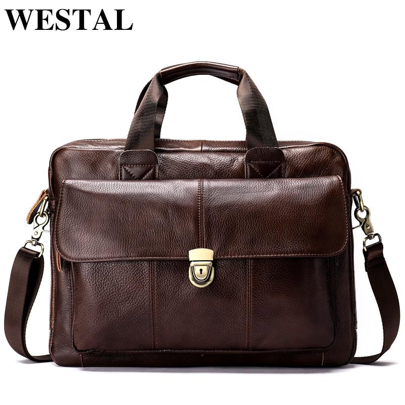 WESTAL sac de messager hommes en cuir véritable hommes sac à bandoulière ordinateur portable hommes porte-documents de mode sacs à main sac à bandoulière pour hommes 315