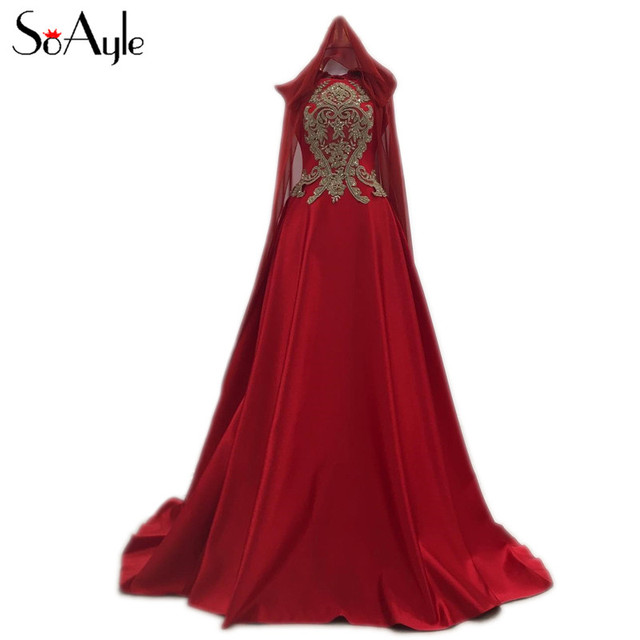Soayle A Line Sleeveless Luxury Beading Red Evening Dresses 2018 New