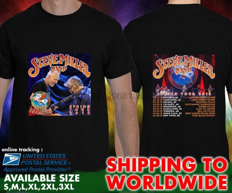 New Steve Miller Band with Peter Frampton Tour Men/'s Black T-Shirt Size S-3XL