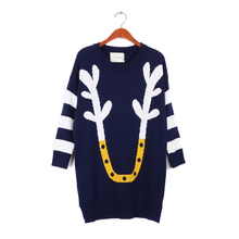New Arrival Winter  loose large size jacket Christmas elk horn stripes hit the color sweater