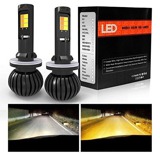1 par coche LED niebla luz DRL blanco oro Color Dual bombilla H4 H7 H11 H8 H27 881 880 HB3 9005 HB4 9006 antiniebla delantera lámparas 6000 K