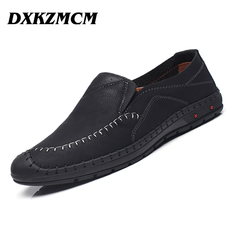 DXKZMCM Brand Soft Leather Breathable Men's Flats Shoes Slip-on Mocassins Men Loafers Men's Casual Shoes new 2017 men s genuine leather casual shoes korean fashion style breathable male shoes men spring autumn slip on low top loafers