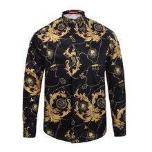Medusa hemd frühling herbst Harajuku Medusa gold kette/Hund Rose print shirts Retro floral pullover Männer langarmshirts shirts