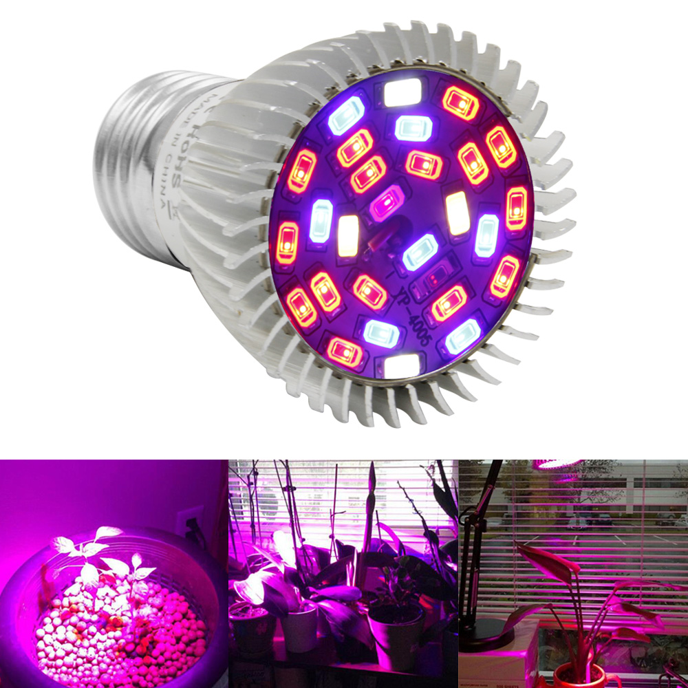 100pcs/lot 28W LED Grow Light Full Spectrum E27 Bulbs Mini LED Indoor Growing Lamp For Plants Vegetables Hydroponics Seeds