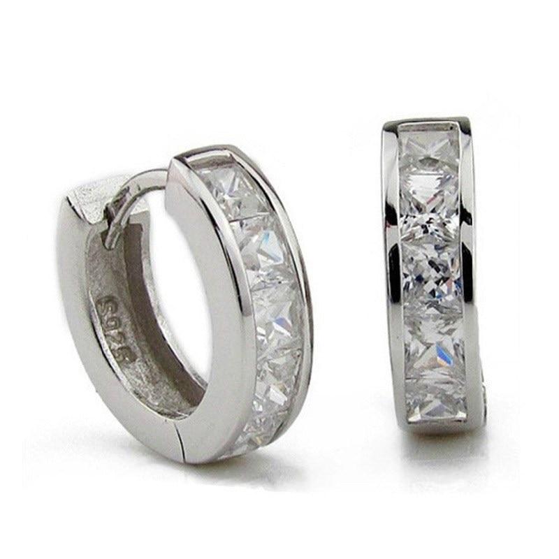 New Stainless Steel Hoops Earrings for Men Silver Color Crystal Earring Man Punk Style Cubic Zirconia - Earrings For Men