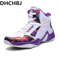 New Sport Shoes Basketball Male High Top Men Basketball Shoes White Purple Training Shoes Size 36 46 Mens Basketball Sneakers