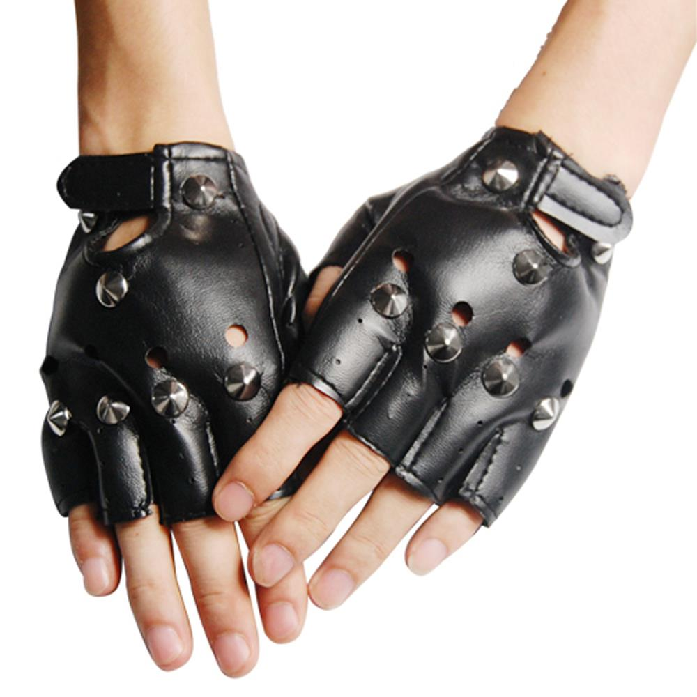 HOT Unisex Cool BLACK Punk Rock Mit Nieten LEDER LOOK FINGER HANDSCHUHE image