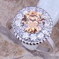 Pleasant Brown Morganite White CZ Silver Stamped 925  Ring Size 6 / 7 / 8 / 9  R0241